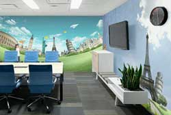 Aplikasi Wallpaper dipasang di Meeting room